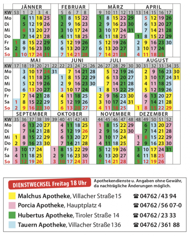 Nachtdienstkalender